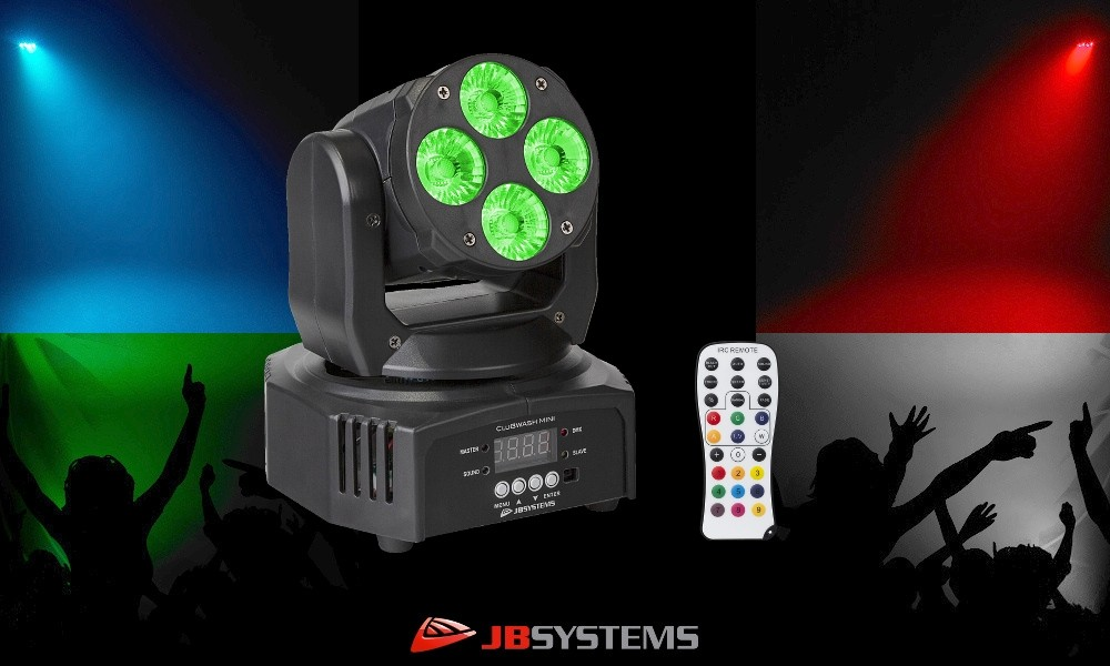 JB SYSTEMS CLUBWASH MINI Moving Head 4x12W RGBWA+UV