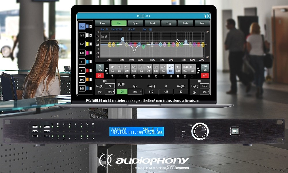 AUDIOPHONY DZONE88 Digital Matrix/Preamp mit DSP 8in/8out