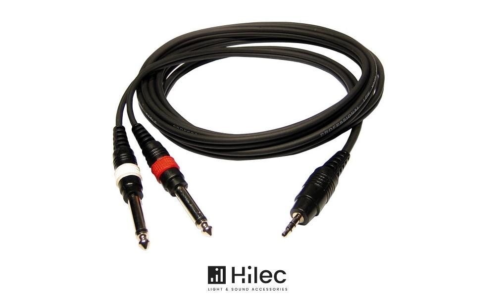 HILEC Audiokabel Stereo Minijack 3.5mm - 2 x Jack 6.3mm