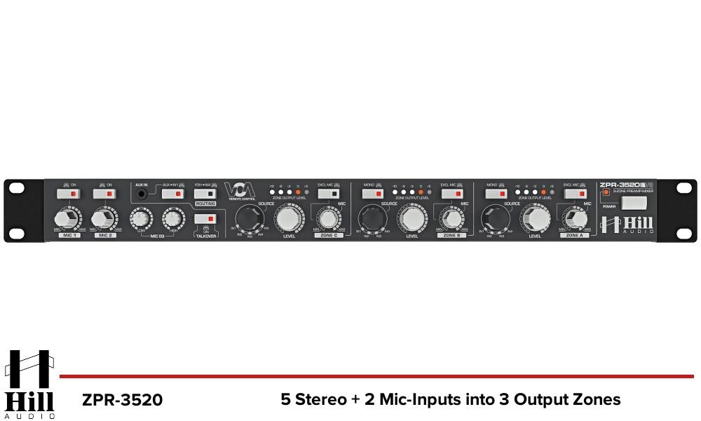 HILL AUDIO ZPR-3520 3-Zonen Stereo Mixer