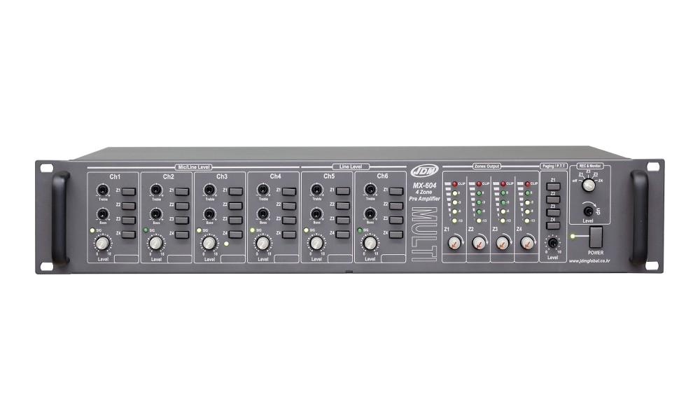 JD-MEDIA MX-604 Mono-Mixer/Preamp mit 4 Masterzonen