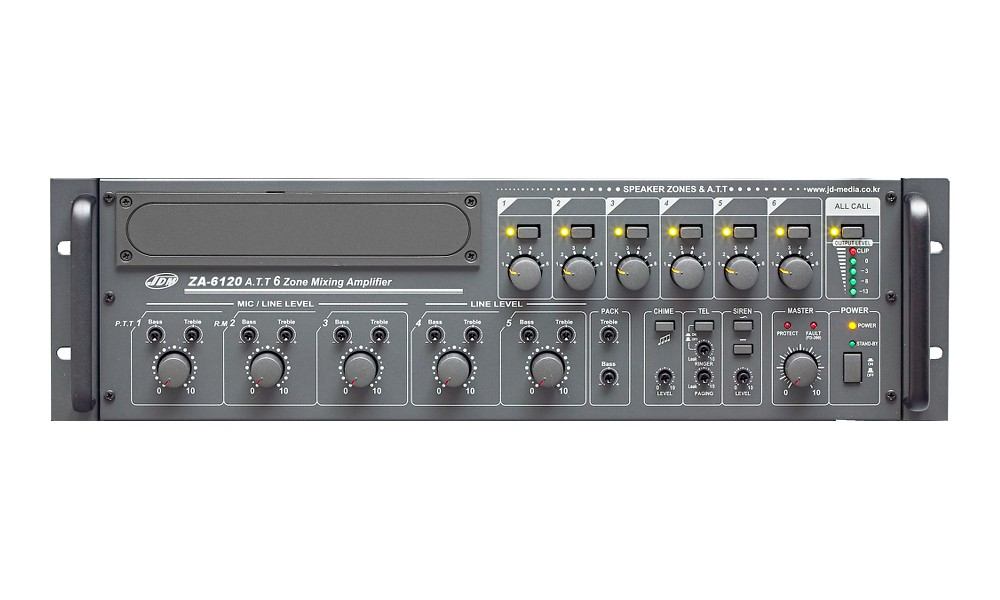 JD-MEDIA ZA-6120 6-Zonen ELA-Zentrale 120W - 100V/4 Ohm