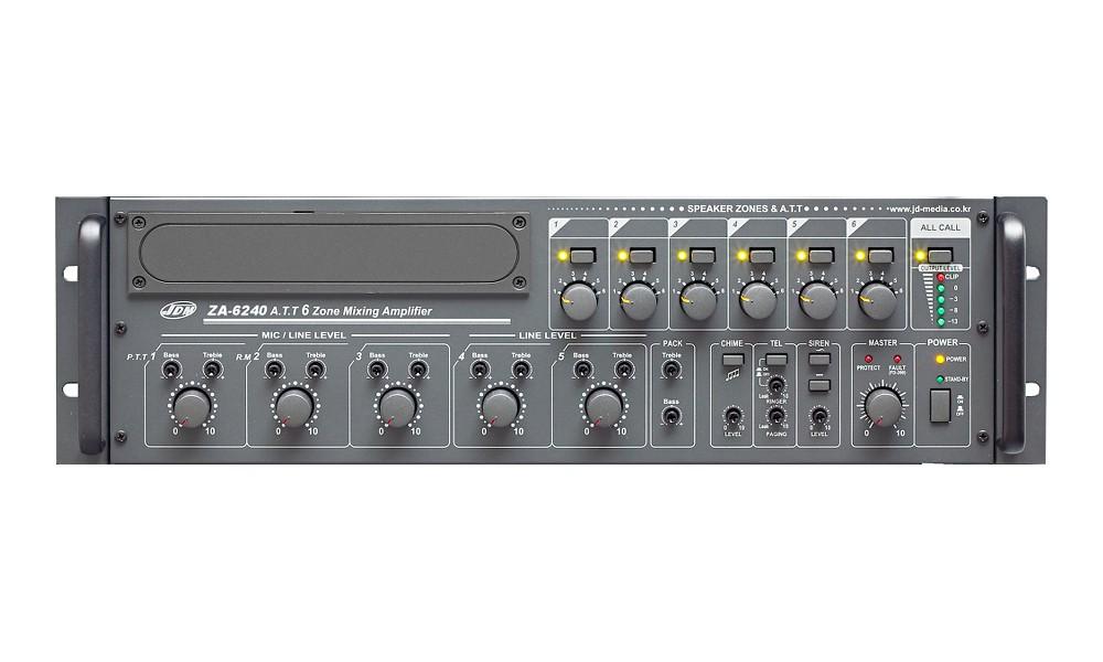 JD-MEDIA ZA-6240 6-Zonen ELA-Zentrale 240W - 100V/4 Ohm