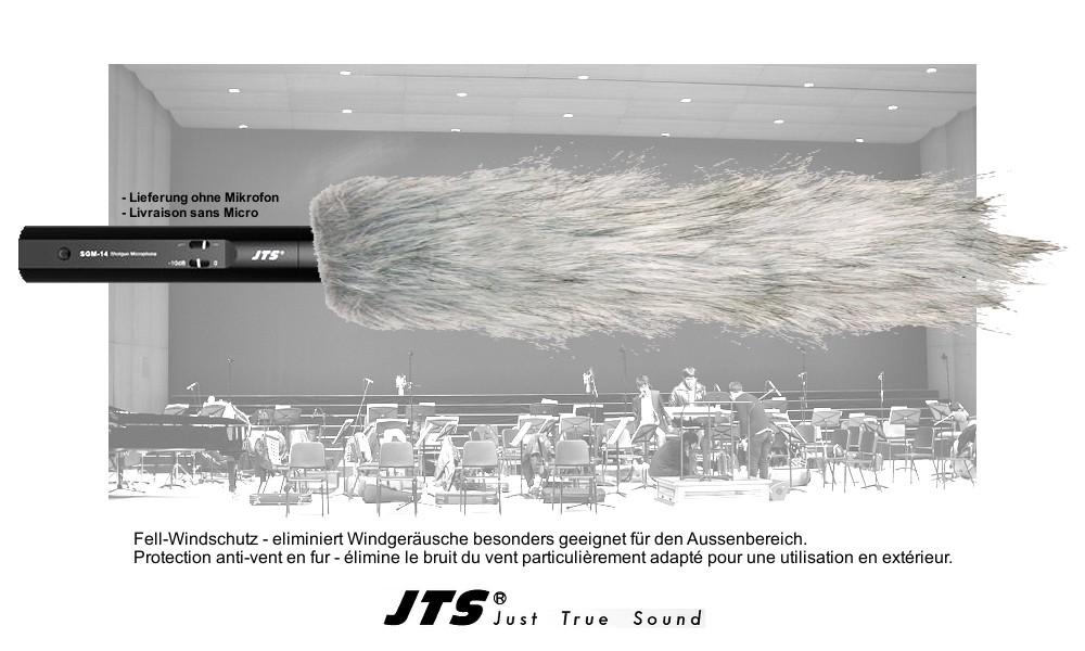 JTS MS-14FUR WINDSCHUTZ - Echtpelz grau