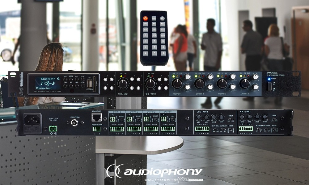 AUDIOPHONY PMX34 Mixer - 3 Eingänge/MP3-Player/FM/Bluetooth, 4 Zonenausgänge