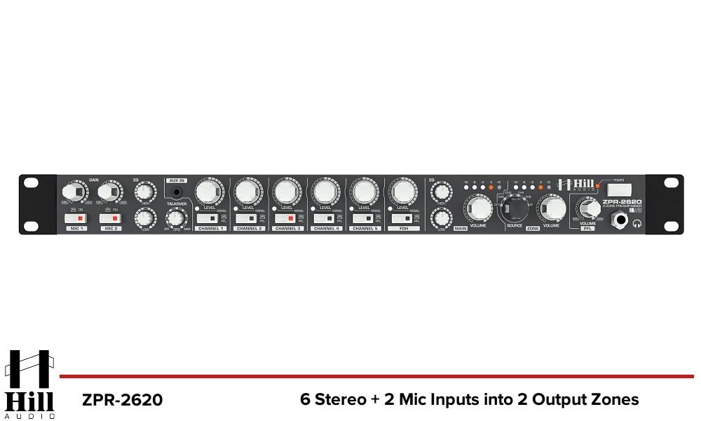HILL AUDIO ZPR-2620 2-Zonen Stereo Mixer