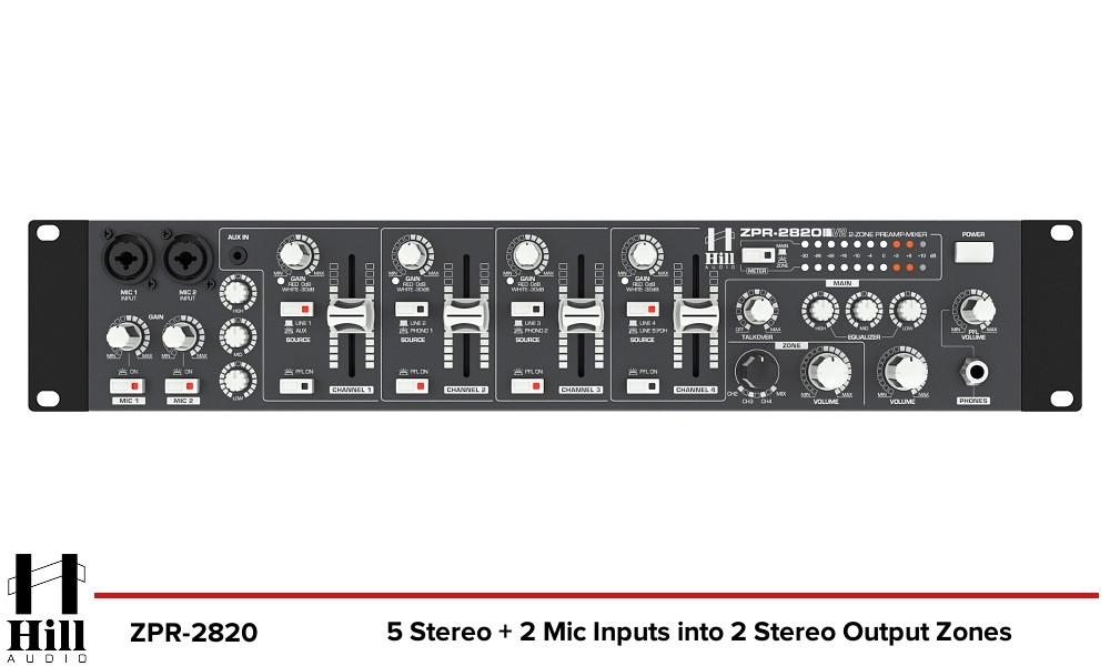 HILL AUDIO ZPR-2820 2-Zonen Stereo Mixer
