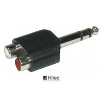 HILEC ADAPT900 Adapter 2 x Cinchbuchse - 1 x Stereo Jack 6.3mm