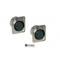 HILEC XLR/F 3-Pol Chassis Einbaubuchse D-Size (Set à 2 Stück)