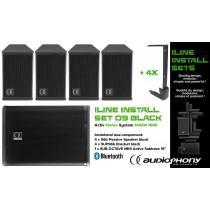 AUDIOPHONY iLINE INSTALL SET 9 BLACK Aktiv Stereo System 1400W, Bluetooth