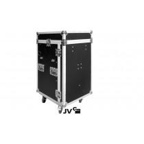 """JV RACK CASE 10/18U Flightcase 19"""" mit Rollen/Tisch in Premium Qualität"""